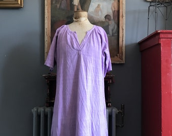 Antique French linen cotton metis smock nightdress dyed Lavender size S/M UK 10/12