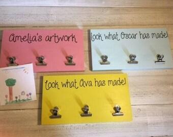 Personalised Childrens Artwork Hanger, Artwork display, Kids masterpiece display - 5 colour options