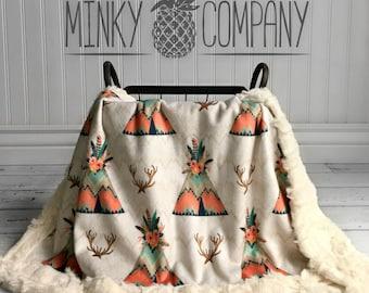 Teepee Baby Blanket - Designer Minky - Feather Teepee - Ivory