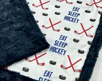 Hockey Minky Blanket - Designer Minky - Navy
