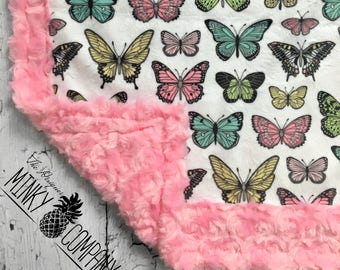 Butterfly Minky Blanket - Designer Minky - Pink