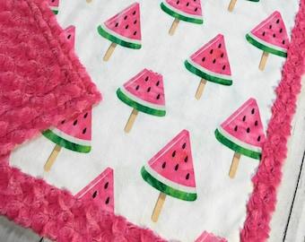 Watermelon Popsicle MinkyBlanket - Designer Minky - Pink