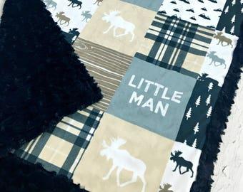 Little Man Baby Blanket - Designer Minky - Navy