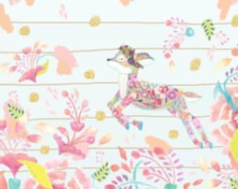Spring Fawn Minky Blanket - Designer Minky - Pink