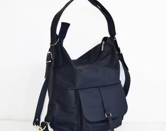 21bbc409fe LEATHER BACKPACK PURSE Multi Way Rucksack Tote Bag Navy Blue Leather  Shoulder Bag Leather Purse Women s Handbag