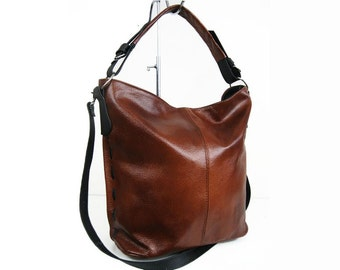 Cognac Brown LEATHER HOBO BAG - Everyday Leather Shoulder Bag e31e90ecbe1b6