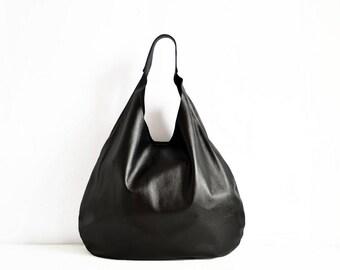 BLACK LEATHER HOBO bag a6a664bca4b33