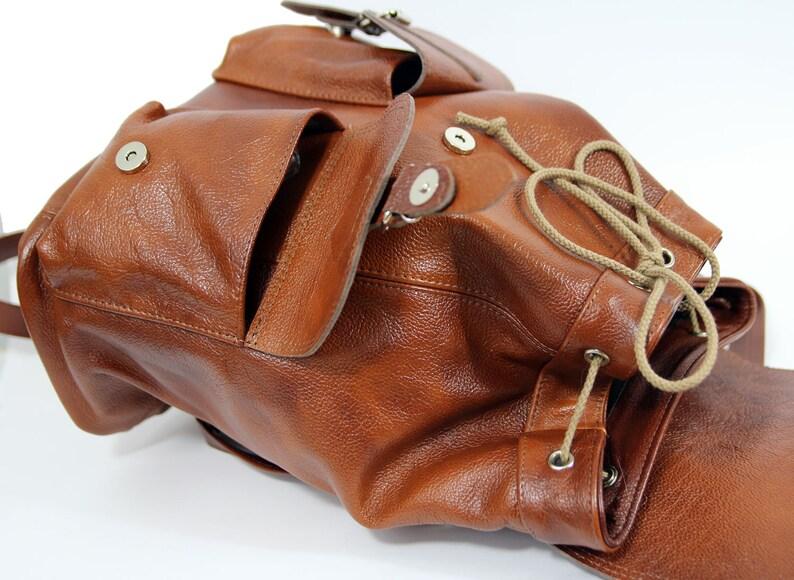 Large leather Backpack Backpack with large pockets Travel Backpack Leather Cognac Rucksack Brown backpack