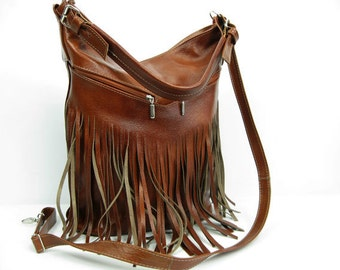 LEATHER FRINGE HOBO Bag Large Cross Body Leather Hobo Bag, Large Tote, Women's handbag, Leather shoulder Bag Leather Top Zip Handbag