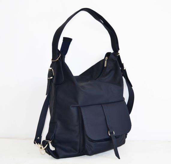 LEATHER BACKPACK PURSE Multi Way Rucksack Tote Bag Navy Blue   Etsy 998b6ca2d9