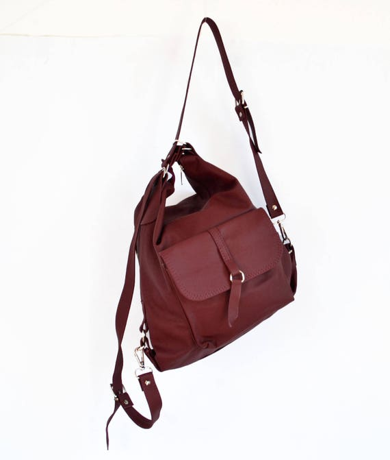 LEATHER BACKPACK PURSE Multi Way Rucksack Convertible Tote Bag   Etsy fa291e6443