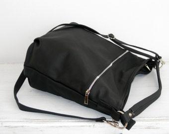 BLACK LEATHER HOBO Bag Crossbody Bag - Everyday Leather Shoulder Bag