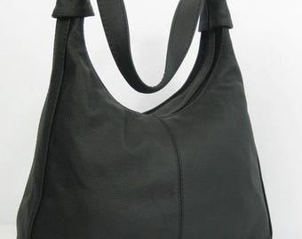 Black LEATHER HOBO BAG, Black Leather Bag, Black Shoulder Bag, Leather Hobo, Everyday Leather Shoulder Bag