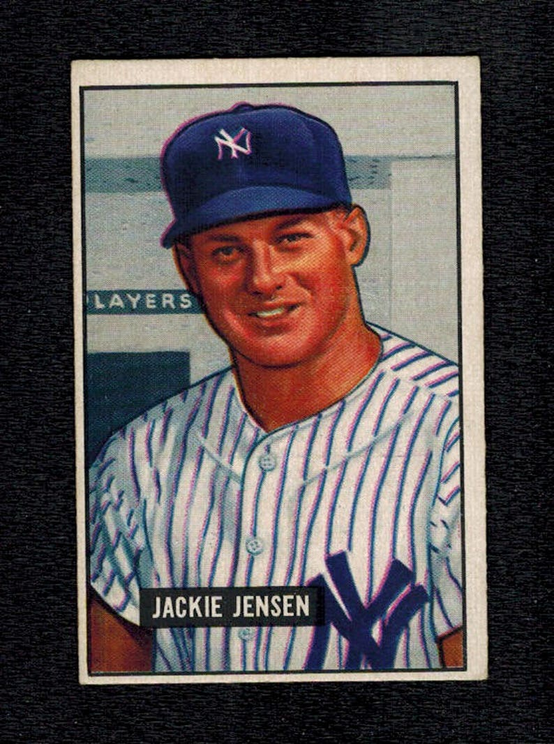 1951 BOWMAN BASEBALL #254 Jackie Jensen Rookie Card New York Yankees Boston Red Sox Ex-Mt Condition Free Shipping!