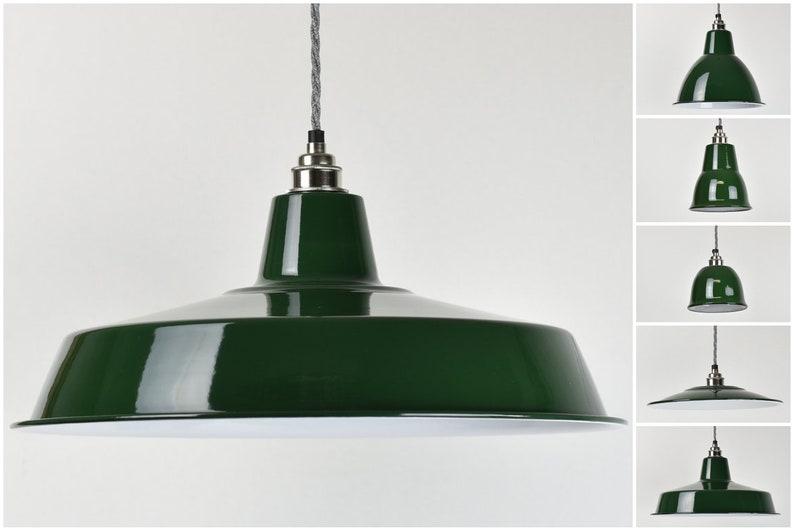 3d924fa83c53 Factory Green Enamel Vintage Industrial Warehouse Style Light | Etsy