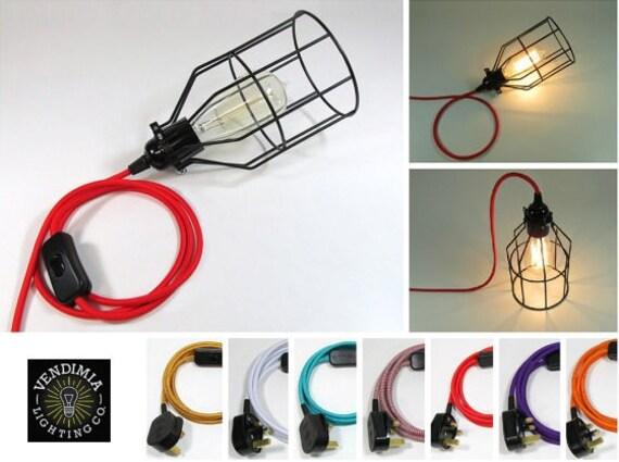 2m Vintage Industrie Anhanger Draht Kafig Schreibtisch Lampe Etsy