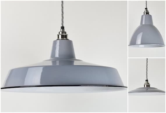 Dove Grey Enamel Vintage Factory Industrial Warehouse Style Light Lamp Shades 3 Shapes