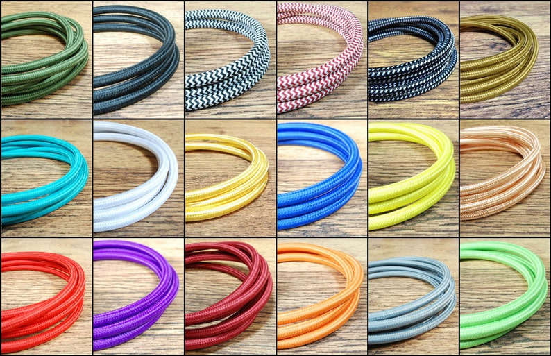 Marr/ón PREMIUM Italiano Vintage Tela Flex Cable de iluminaci/ón 3/Core