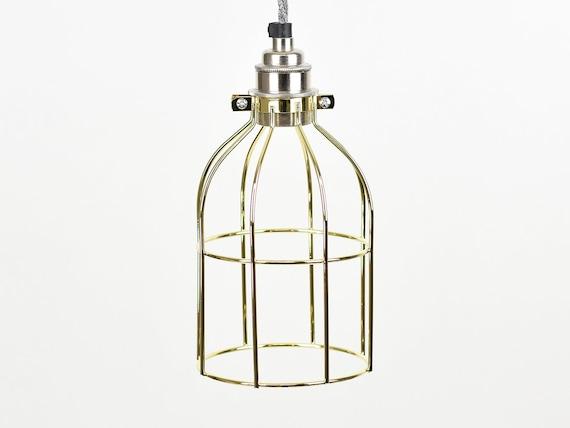 Acero bruto Vintage Industrial Colgante Jaula de alambre Lámpara De Mesa De Luz Y Bombilla de Edison