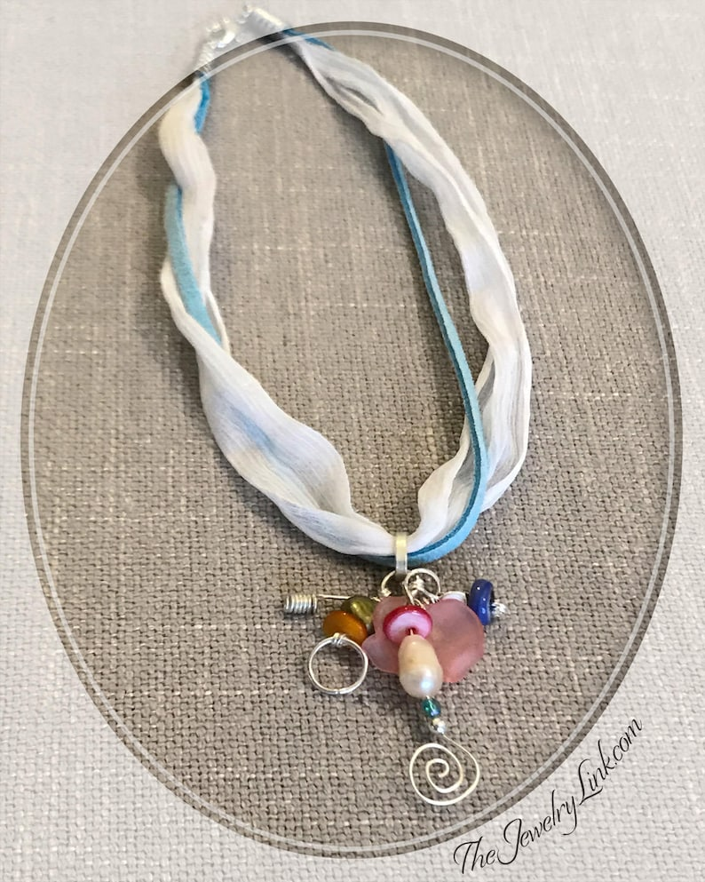 I Want It \u2014 Charm Necklace Ribbon and Leather Choker Handmade Gifts for Her Sterling Silver Beaded Dangle Short Necklace