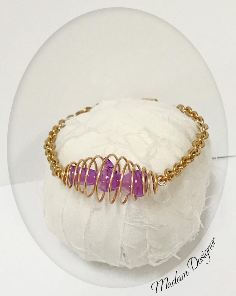 Hemp Jewelry Cannabis Gifts Marijuana Weed Bracelet Bong Bracelet Hand-Blown Pipe Glass Pipe Purple Bong Pipe