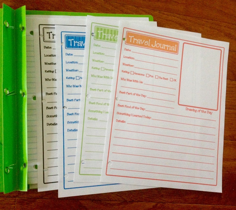 Kids Travel Journal Pages Template Printable Vacation Memories Pages -  Digital Instant Download