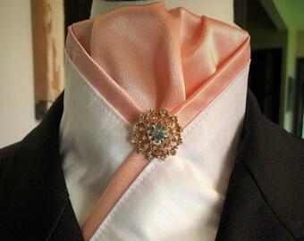 White Faux Silk and Peach Stock Tie
