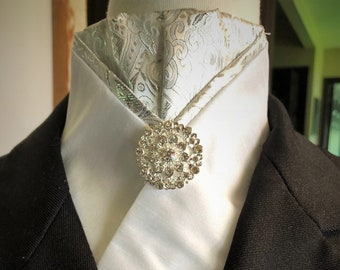 White Pre-tied Stock Tie with Silver Accents