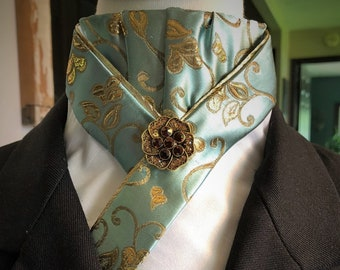 Teal and Gold Trimmed Pre-tied Stock Tie
