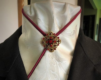 Antique White and Burgundy Pre-tied Stock Tie