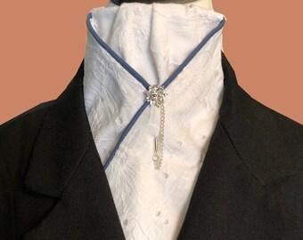White Cotton Eyelet Pre-tied Stock Tie