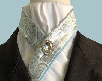 Ice Blue and White Pre-tied Stock tie