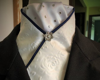 Embossed Satin Tie with Bling Knot