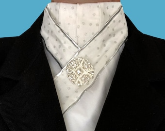 Silver Dot Trimmed Pre-tied Stock Tie