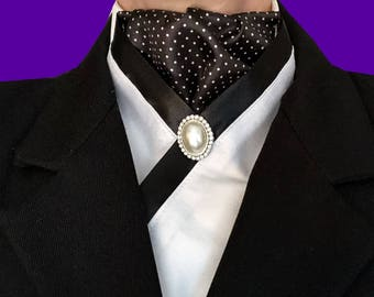 Pre-tied Stock Tie, Black with Dots