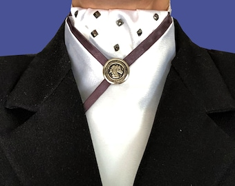 White Satin Tie with Silver Nail Heads and Gunmetal Trim