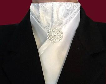 White Pre-tied Stock Tie