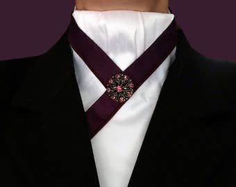 White Stock with Blackberry Trim and Burgundy Piping