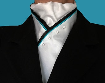White Stock Tie with Teal Piping and Black Trim