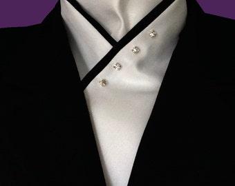White Stock Tie with Black Trim