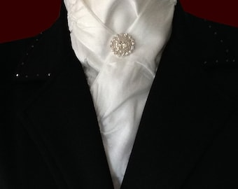 White Quilted Satin Stock Tie