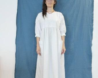 White dress, oversized dress, smock dress, long dress, puff sleeves, upcycled vintage lace, size 14