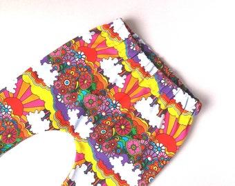Organic cotton harem pants, baby harems, multicoloured leggings, festival colours, baby - toddler