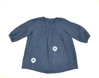 Linen dress, daisy dress, dress with pockets, blue dress, size 2-3 years