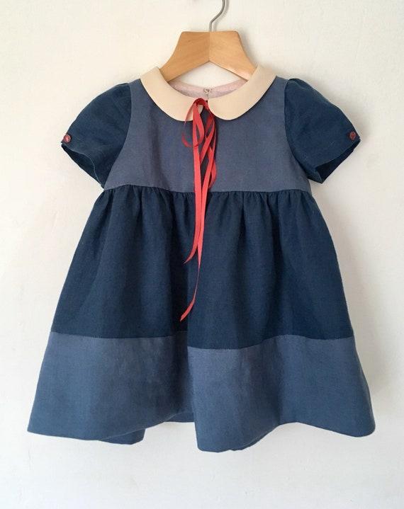 Girls dress, linen dress, blue dress, baby dress, empire dress, Peter Pan collar, toddler dress, occasion dress, size 12 24 months