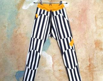Stripe trousers, striped denim, stretchy denim, drop crotch trousers, drop crotch jeans, stripy jeans, unisex pants, size 6-8 y