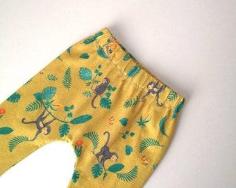 Organic cotton harem pants, baby harems, yellow leggings, monkey leggings, baby - toddler