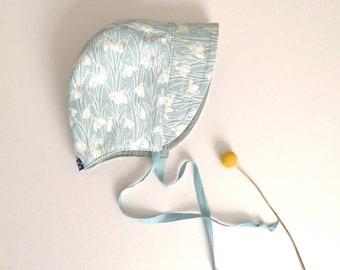 Sun bonnet, Liberty bonnet, sun hat, reversible bonnet, baby hat, blue bonnet, duck egg bonnet, heirloom, size 3-6 months