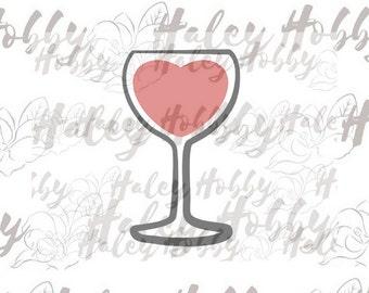 Heart Wine Glass Valentine Day Wine SVG cut file silhouette digital file