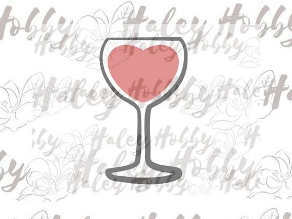 Heart Wine Glass Valentine Day Wine Svg Cut File Silhouette Etsy